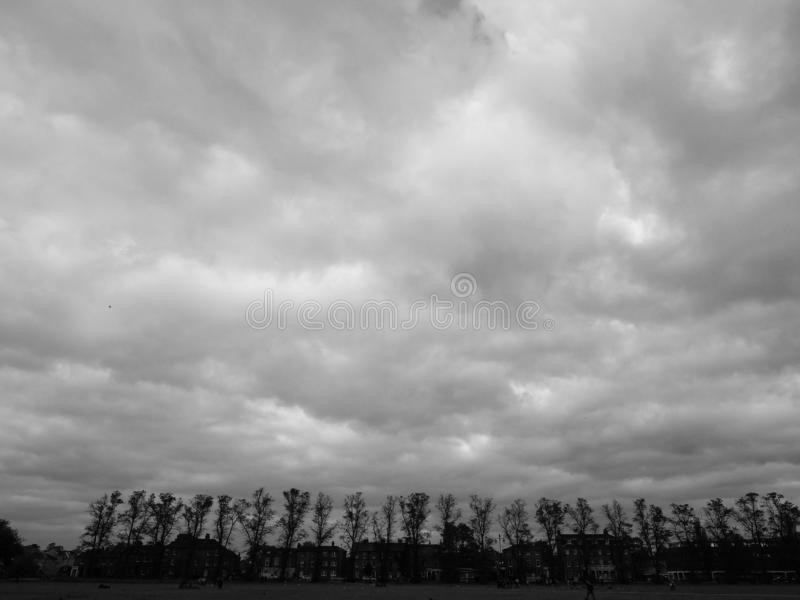 Parker's Piece park in Cambridge in black and white. CAMBRIDGE, UK - CIRCA OCTOBER 2018: Parker's Piece public park in black and white stock photo