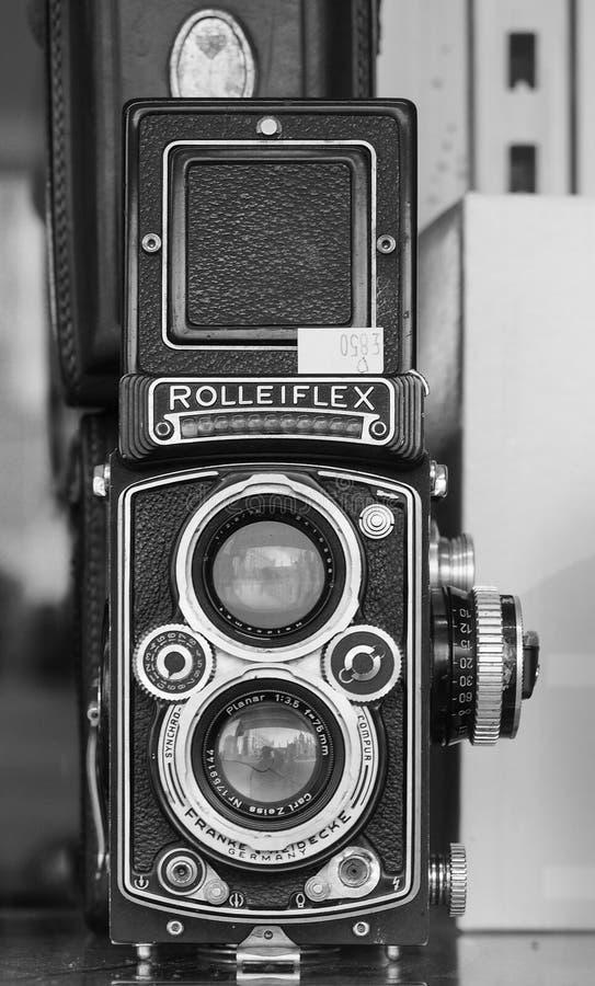 Vintage German rolleiflex film camera in black and white. CAMBRIDGE, UK - CIRCA OCTOBER 2018: vintage German rolleiflex film camera in black and white stock photography