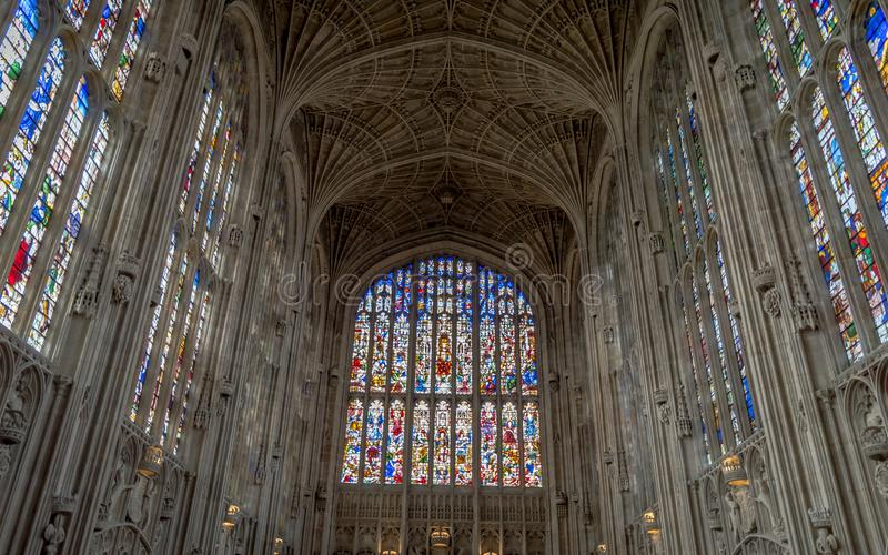 Architecture inside the famous king`s college, Cambridge, United kingdom. Cambridge, United kingdom - April 17, 2016 : Architecture inside the famous king`s royalty free stock image