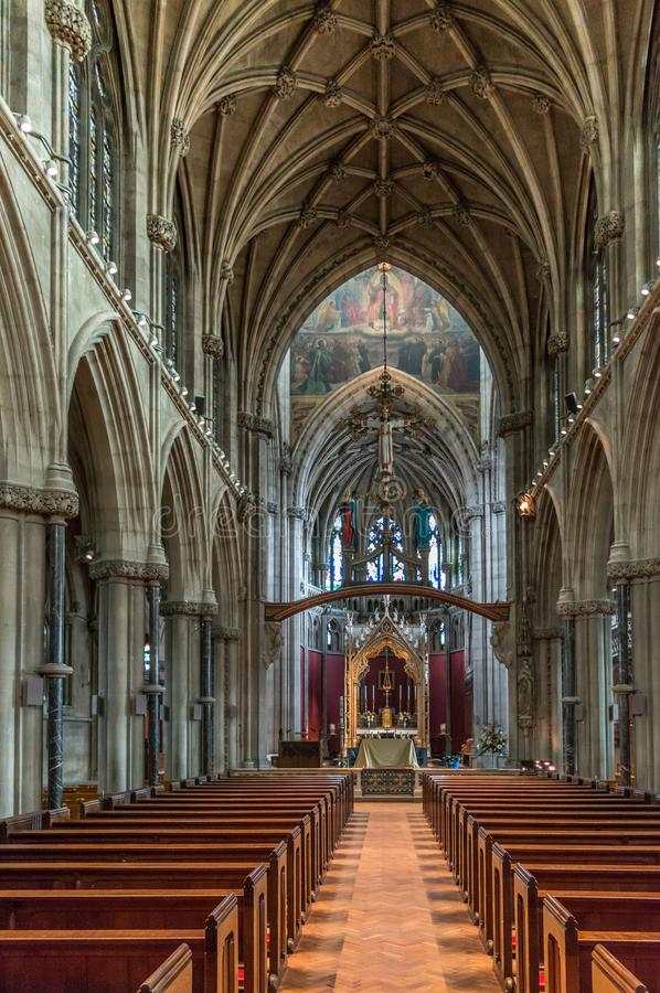 Our Lady and the English Martyrs chapel church interior. It is a large Gothic Revival church built in 1885, Cambridgeshire stock images