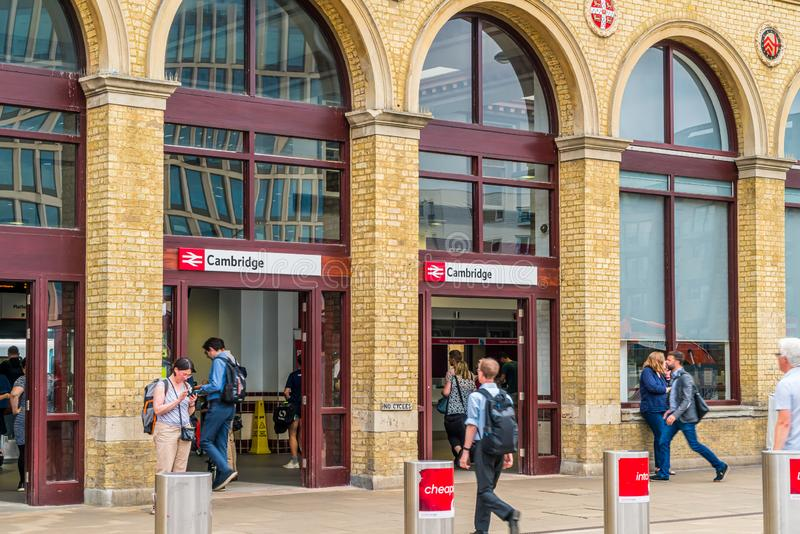 Cambridge, United Kingdom. 28 AUG 2019 : Cambridge Railway station. Passengers are seen arriving at the station and walking to the. Entrance stock photo