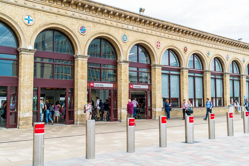 Cambridge, United Kingdom. 28 AUG 2019 : Cambridge Railway station. Passengers are seen arriving at the station and walking to the. Entrance stock image