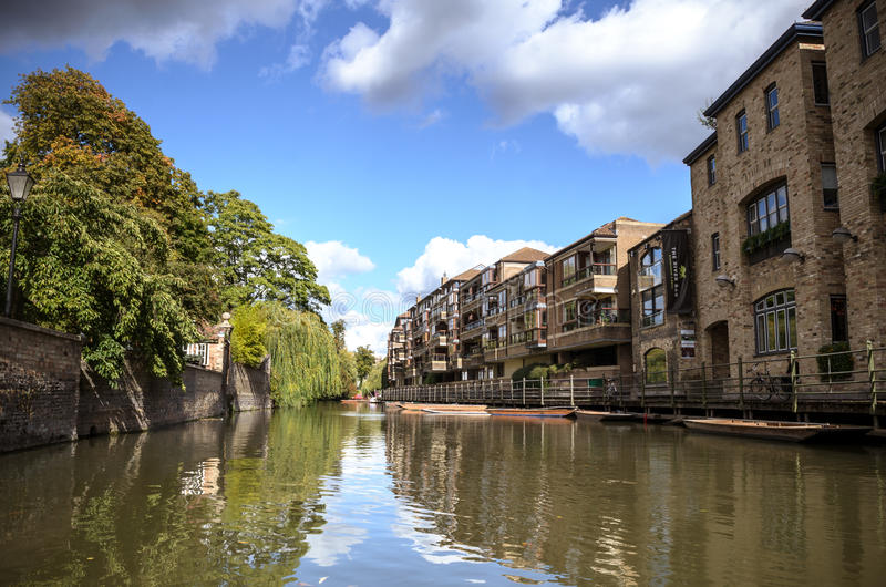Cambridge University. View from river cam royalty free stock image