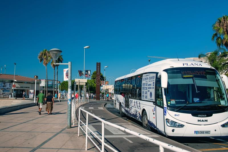 Cambrils Spain 8 August 13 year. Bus stop of tourist transport on the street of Cambrils Catalonia.  stock images