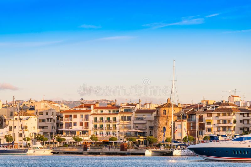 CAMBRILS, SPAIN - SEPTEMBER 16, 2017: View of port and museu d`Hist`ria de Cambrils - Torre del Port. Copy space for text.  stock image