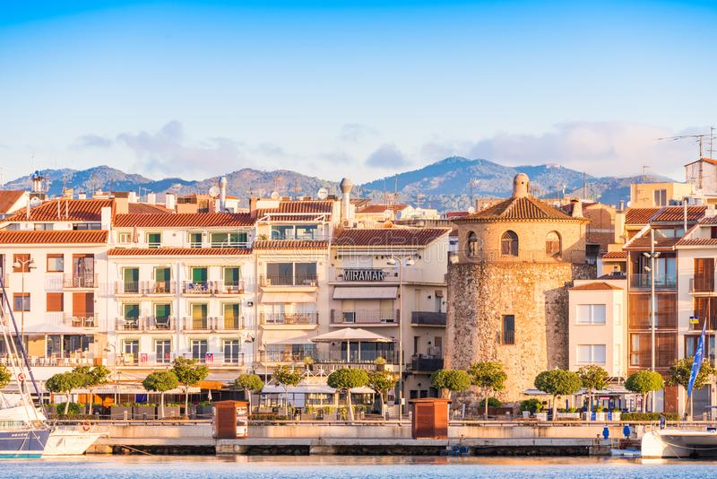 CAMBRILS, SPAIN - SEPTEMBER 16, 2017: View of port and museu d`Hist`ria de Cambrils - Torre del Port. Copy space for text.  stock photography