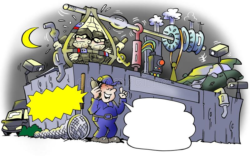 Cambriolage à un entrepôt de ferraille illustration stock