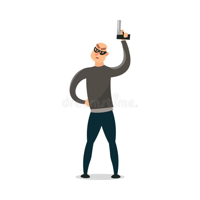 Cambrioleur moderne fou avec le tir noir de masque en air illustration stock