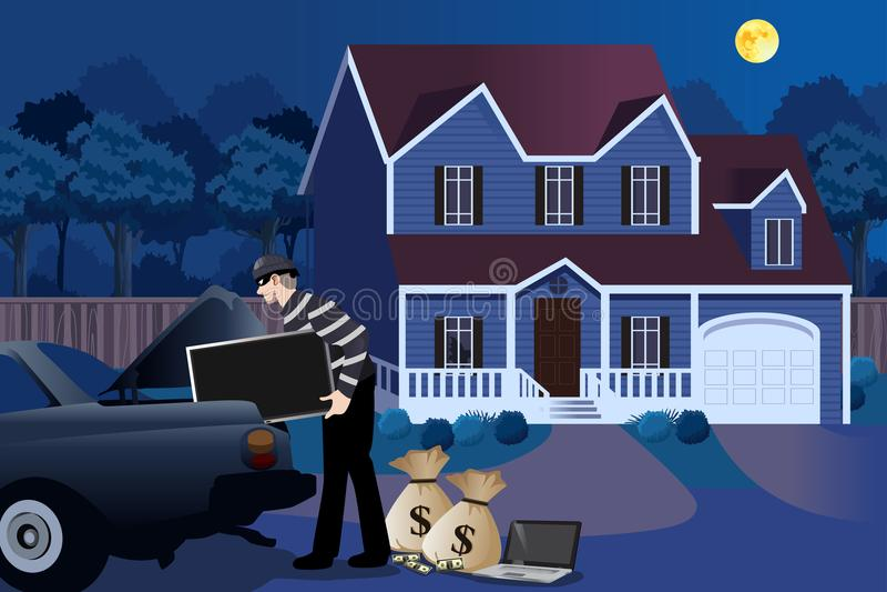 Cambrioleur Stealing From une illustration de Chambre illustration de vecteur