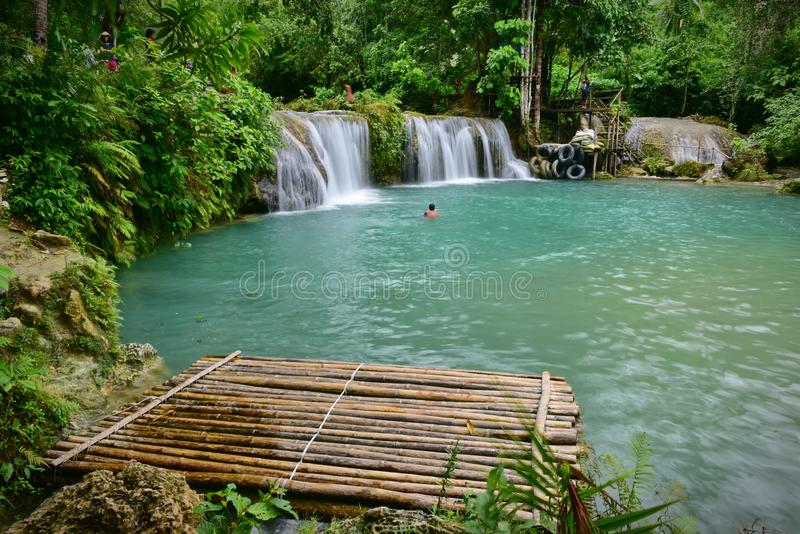 Cambugahay Falls, a 3-tiered waterfall on Siquijor Island, Philippines royalty free stock photos