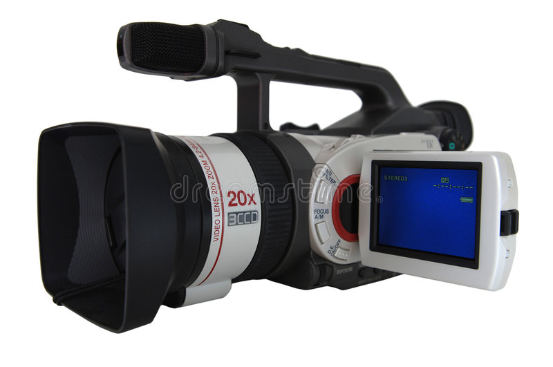 Camcorder. Video camcorder with display, isolated stock images