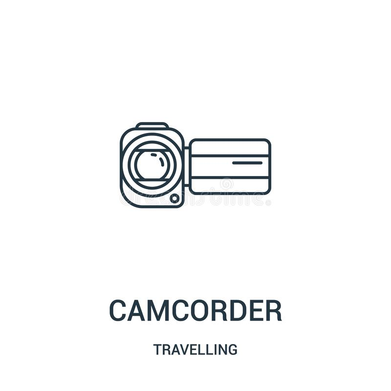 camcorder icon vector from travelling collection. Thin line camcorder outline icon vector illustration. Linear symbol stock illustration