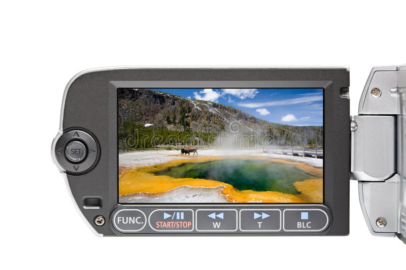 Camcorder LCD in Yellowstone royalty free stock photo