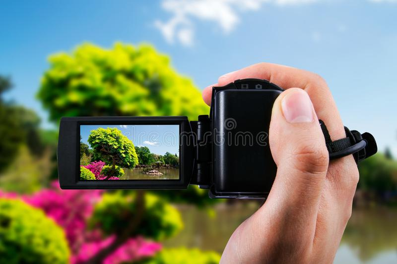 Camcorder recording flora in japanese garden. Video camera or camcorder recording flora in japanese garden stock photography