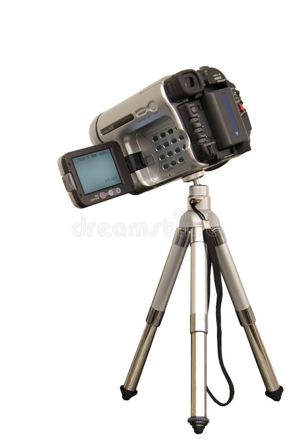 Camcorder on a tripod stock photography