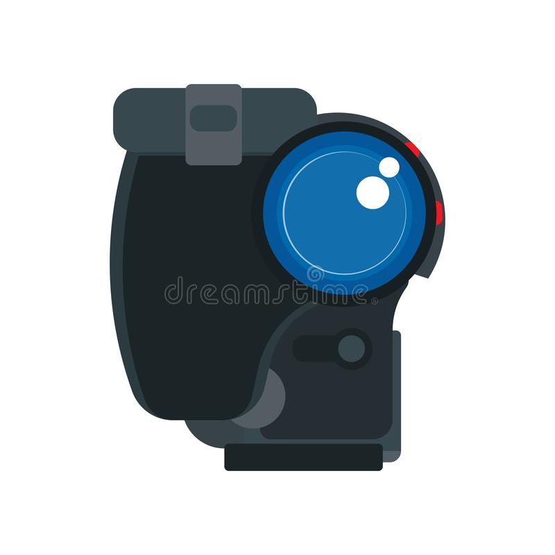 Camcorder vector flat icon front view cinema movie. Video film recording black equipment. Reel broadcast TV production vector illustration