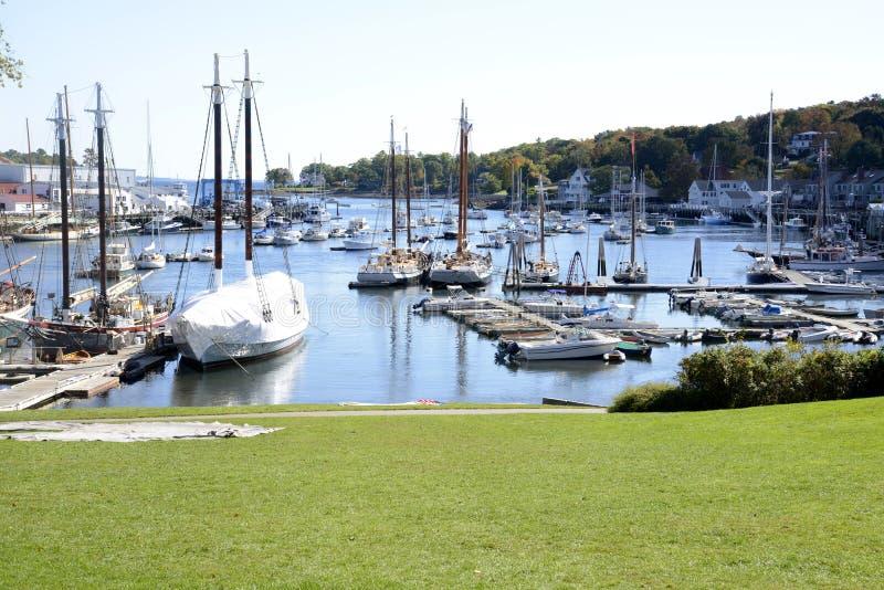 Camden Harbor in Maine stock image