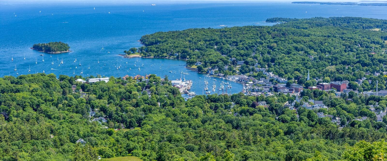 Camden Harbor from Mount Battie stock photography