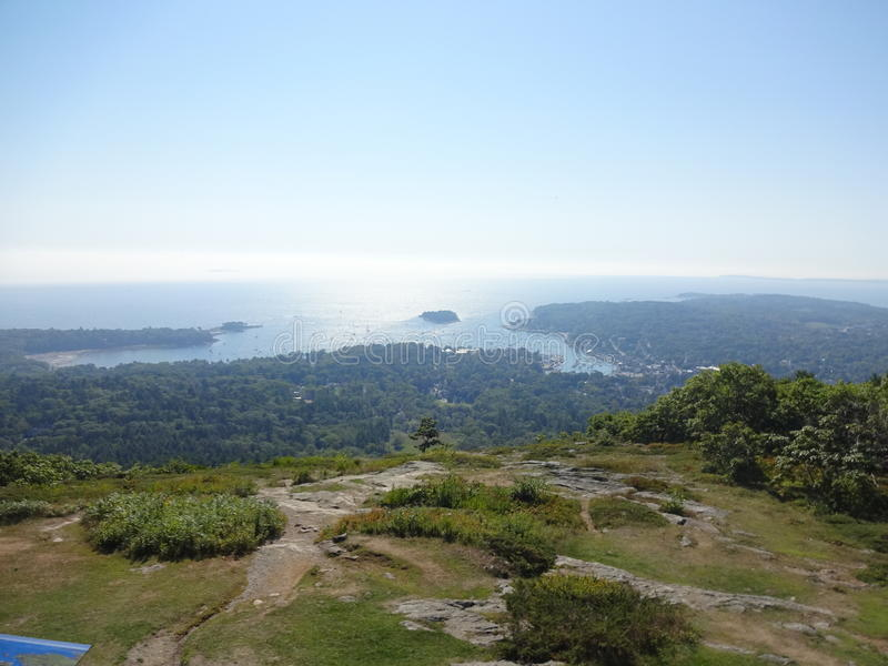 Camden, Maine from Mt Battie stock photos