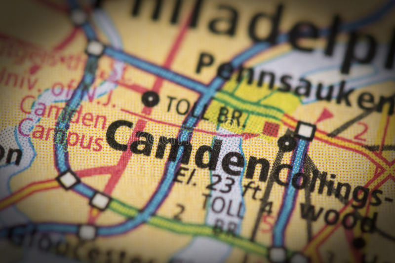 Camden, New Jersey on map. Closeup of Camden, New Jersey on a road map of the United States royalty free stock images