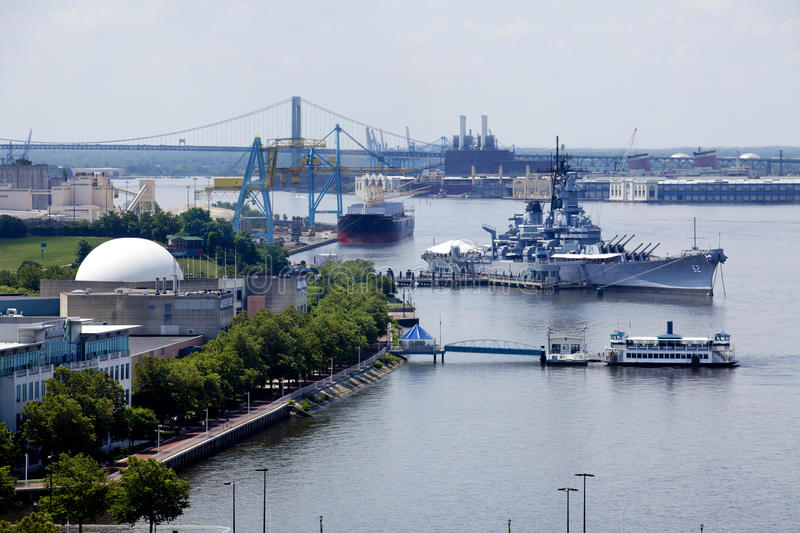 Camden, New Jersey Waterfront. Waterfront in Camden, New Jersey along the Delaware River with Adventure Aquarium, Battleship New Jersey, and Port of Camden. The stock image