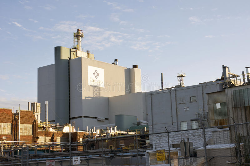 Cameco's Port Hope Conversion Facility in Ontario. Cameco is a major supplier of uranium processing services required to produce fuel for the generation of clean royalty free stock images