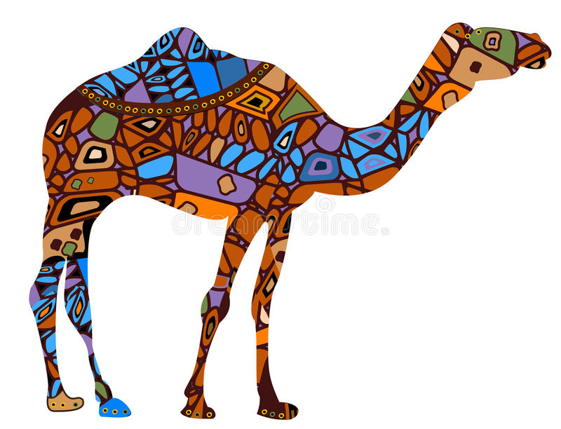 Camel. In the ethnic style is a symbol of business success royalty free illustration