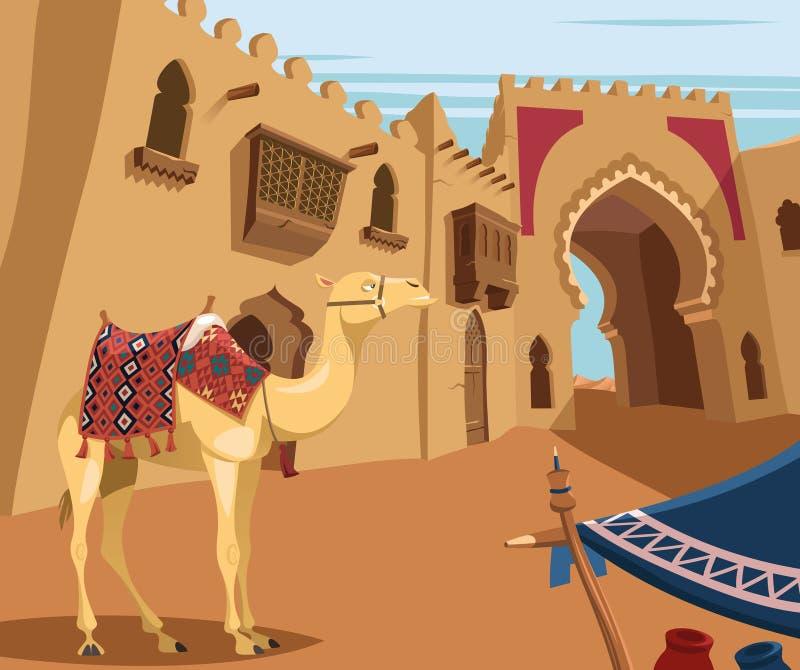 Camel in Arabic desert town royalty free illustration