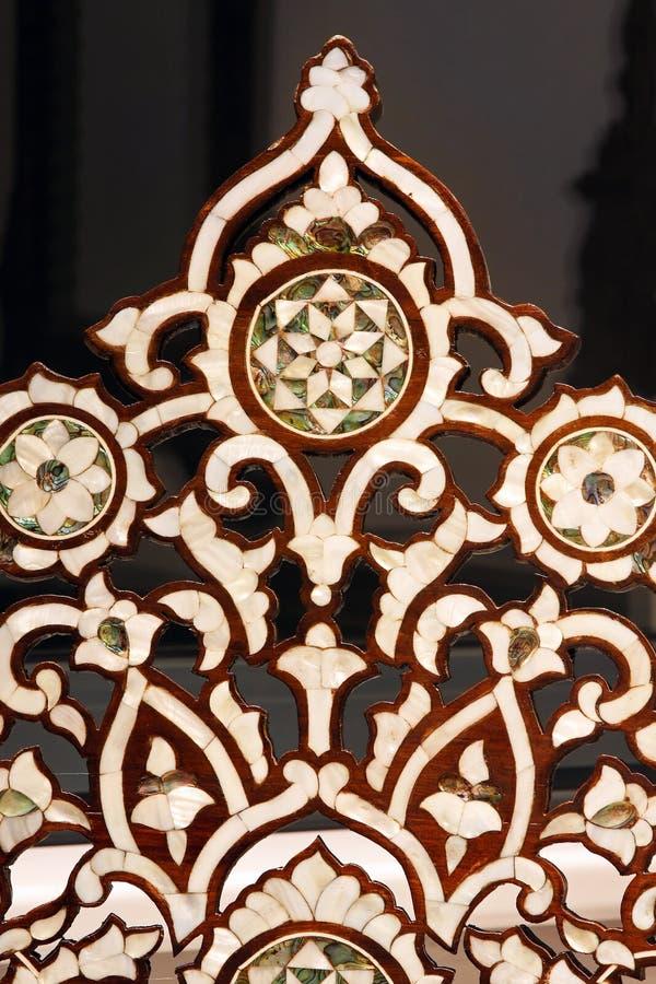 Camel bone handcraft. Morrocan decorative patern carved in camel bone royalty free stock photo