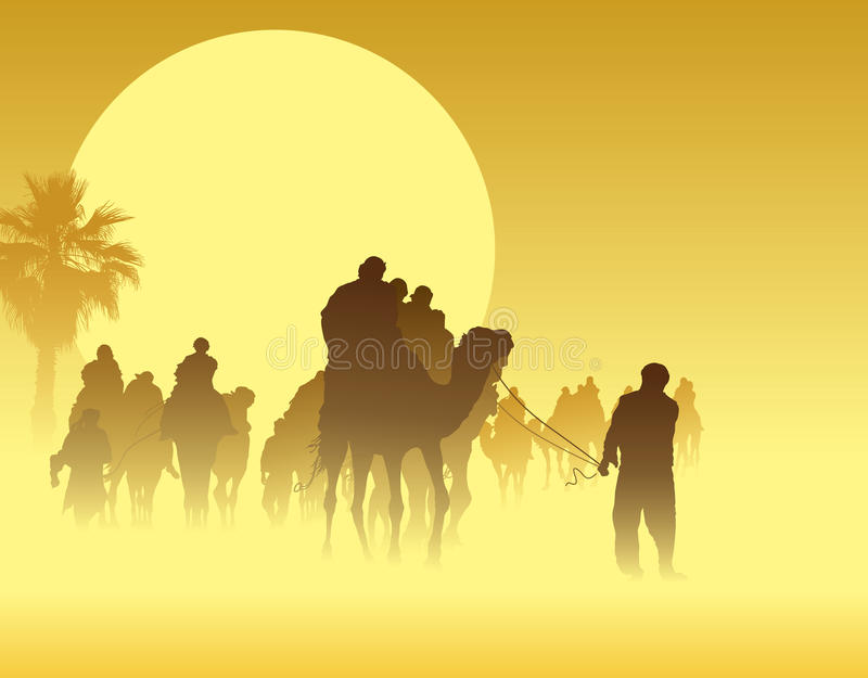 Camel caravan. Going through the sandstorm in the Sahara Desert