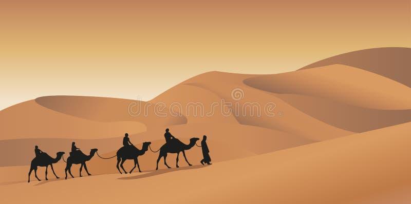 Camel Caravan. Background illustration with a camel caravan royalty free illustration