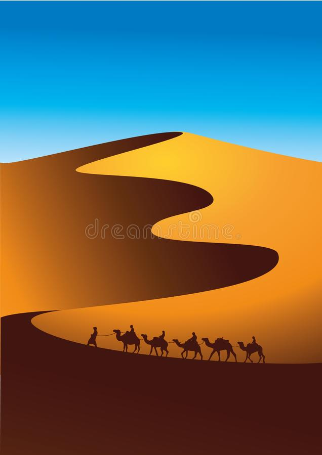 Camel caravan goes through the desert landscape. Vector illustration of Sahara or Namibia desert. vector illustration