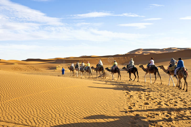 Download Camel Caravan Going Through The Sand Dunes In The Sahara Desert, Editorial Photography - Image: 38126162