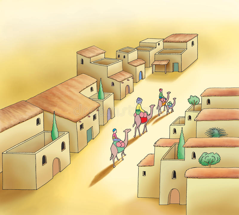 Camel caravan and old arabic town stock illustration
