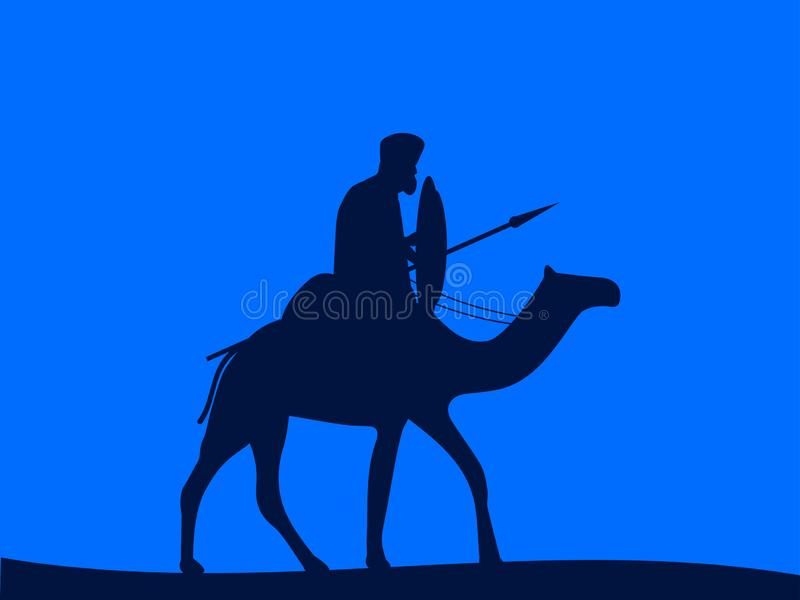 Camel cavalry. Armed rider on a camel. Blue color. Vector stock illustration