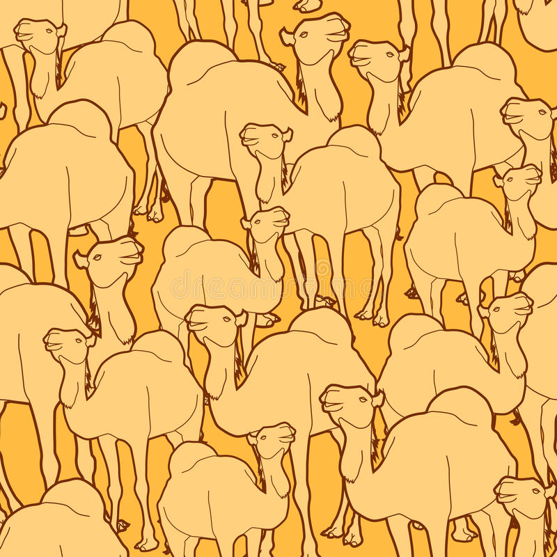 Camel herd pattern stock illustration