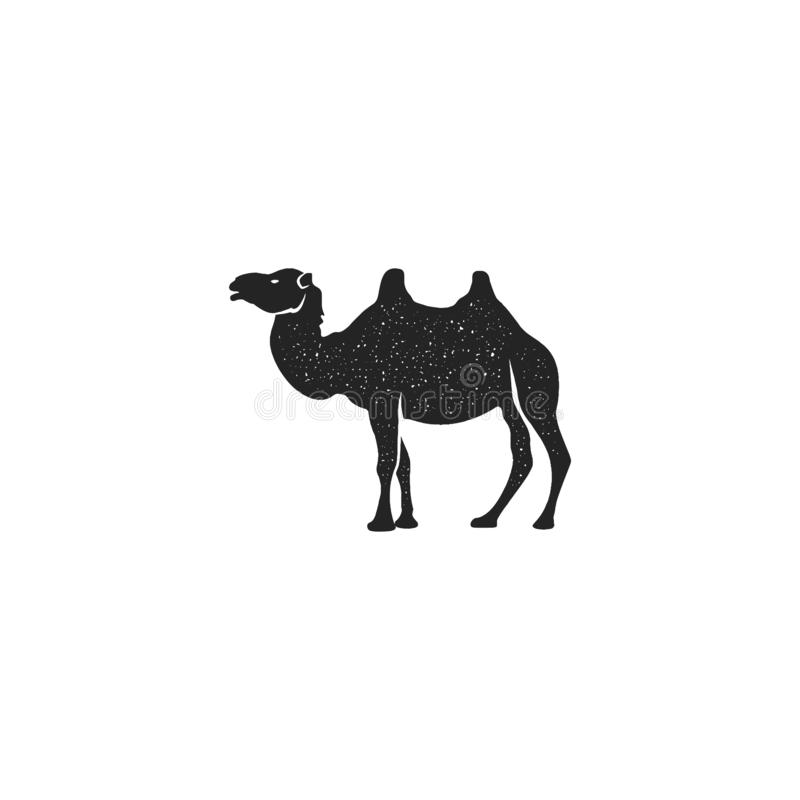 Camel icon silhouette design. Wild animal symbol and element isolated on white background. Vintage hand drawn animal royalty free illustration