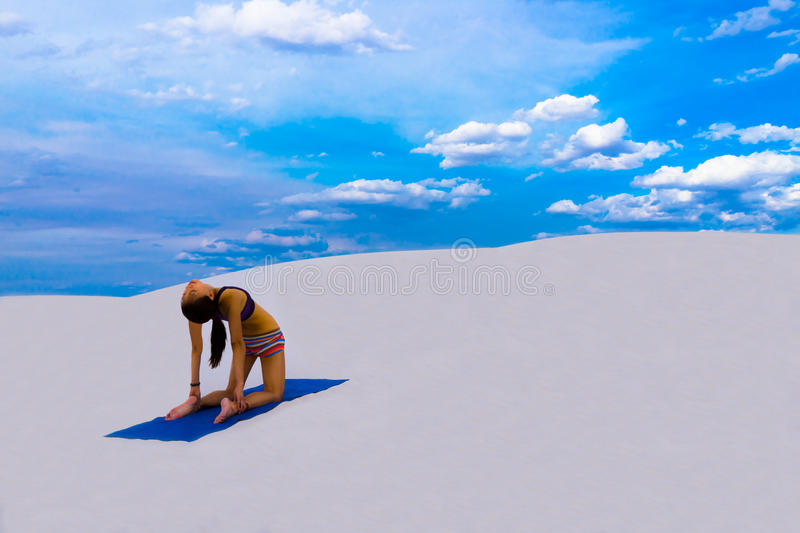 Camel Pose - Yoga Pose in Nature stock image