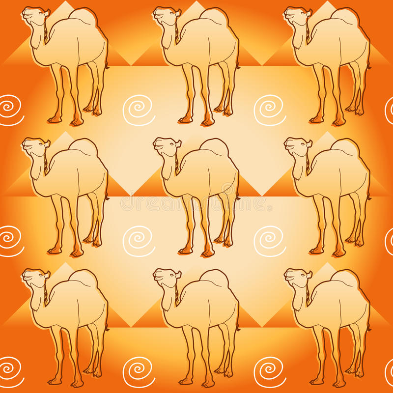 Camel and pyramids royalty free illustration
