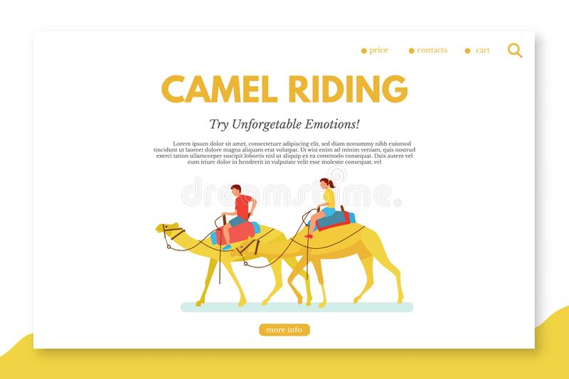 Camel riding flat vector landing page template royalty free illustration