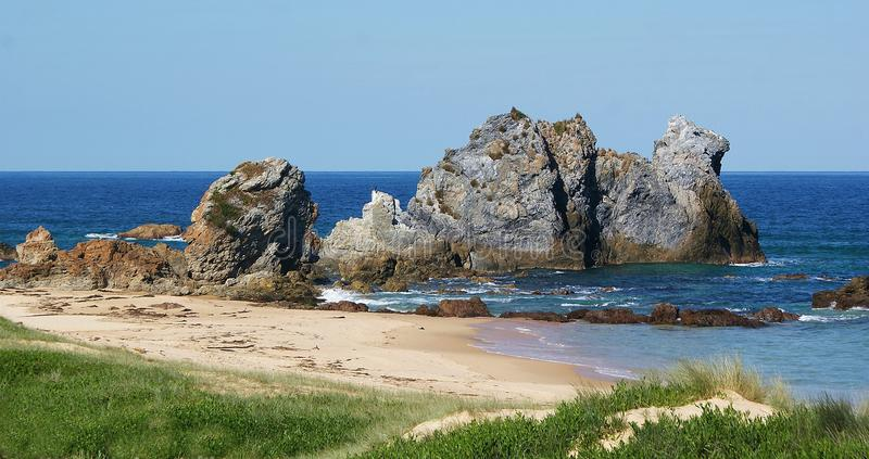 Camel Rock Bermagui Australia. Camel Rock is five minutes drive north of Bermagui This striking rock formation was identified and named by Bass and Flinders stock images