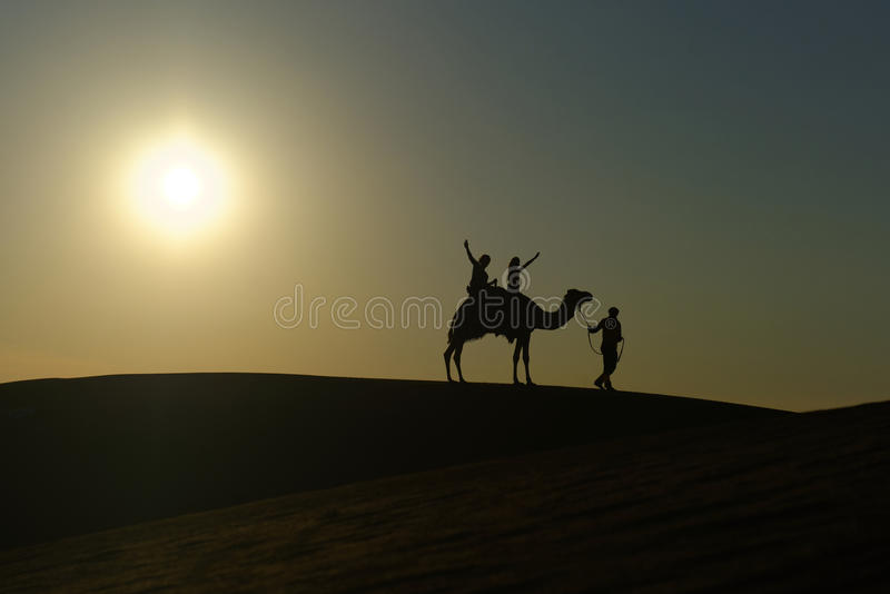Camel safari in the desert. Silhouetted camel and rider being led across a sand dune in the desert on a safari, Dubai, United Arab Emirates royalty free stock photo