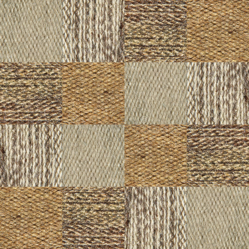Camel wool fabric texture pattern collage in a chessboard order. stock image