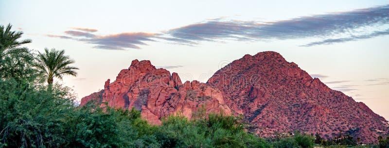 Camelback Mountain Phoenix Arizona USA. View of Camelback Mountain with Praying Monk Rock in Phoenix, Arizona, USA. Web Banner with room for text stock photography