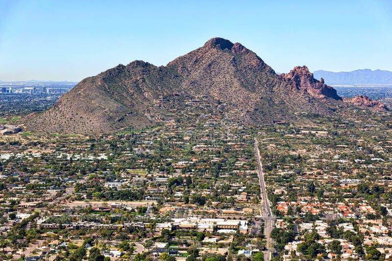 Camelback Mountain from Scottsdale, Arizona stock image