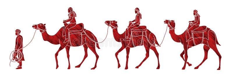 Cameleer с графиком мультфильма верблюдов иллюстрация штока
