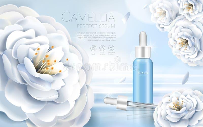 Camelia kosmetische advertenties stock illustratie