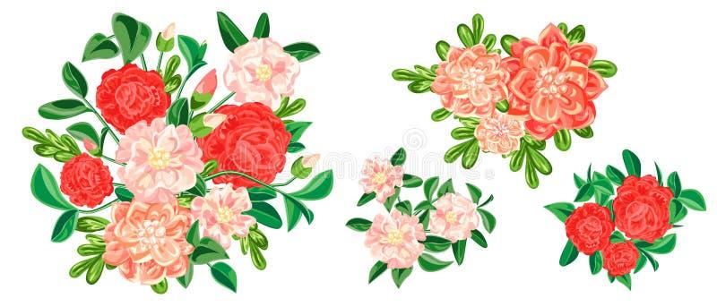 Camellia banner set, cartoon style stock illustration