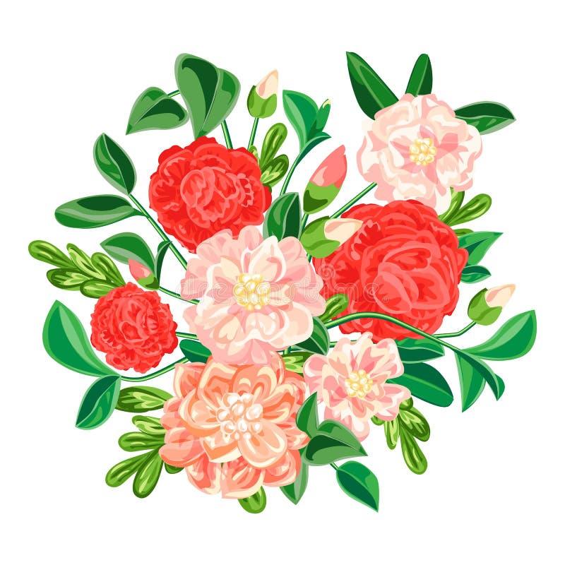 Camellia bouquet icon, cartoon style vector illustration