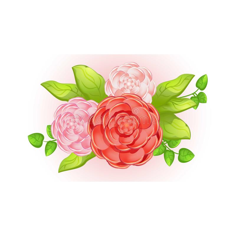 Camellia bouquet icon, cartoon style. Camellia bouquet icon. Cartoon of camellia bouquet vector icon for web design isolated on white background vector illustration